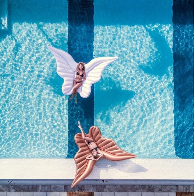 Swimming Pool Wings : White wings inflatable so spoilt